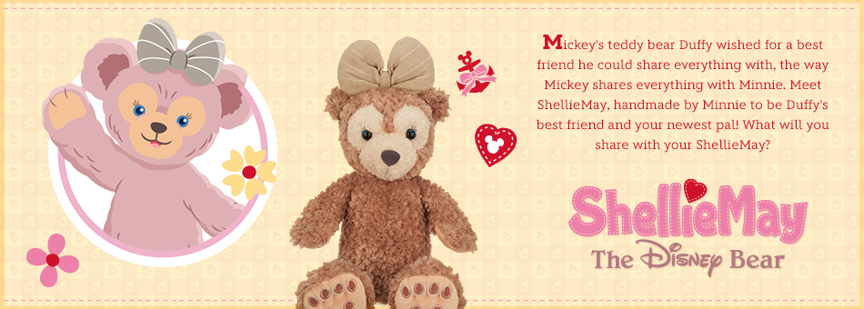 ShellieMay - The Disney Bear - Mickey's teddy bear Duffy wished for a best friend he could share everything with, the way Mickey shares everything with Minnie. Meet ShellieMay, handmade by Minnie to be Duffy's best friend and your newest pal! What will you share with your ShellieMay?