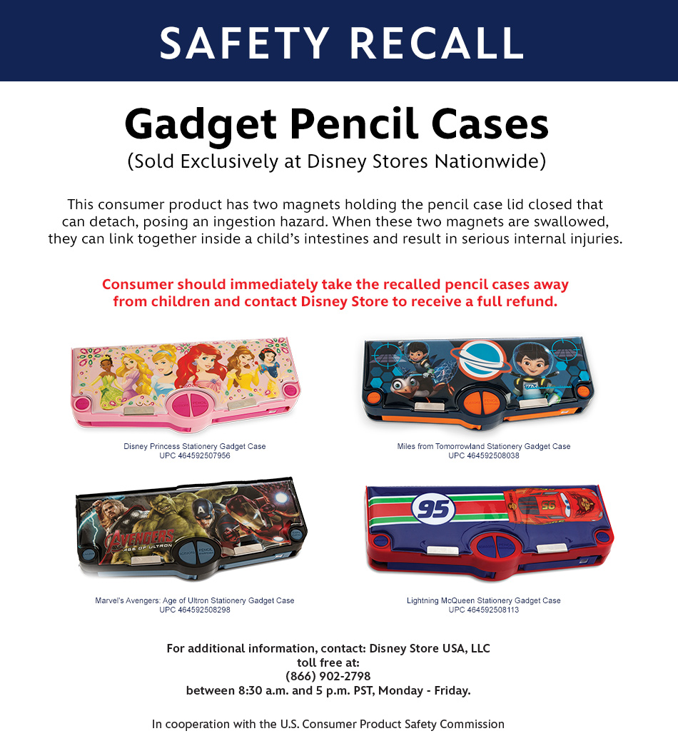 Safety Recall - Gadget Pencil Cases