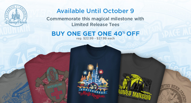 Magic Kingdom 45th Anniversary Limited Release Tees