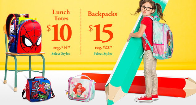 Back to School Savings! $15 Backpacks & $10 Lunch Totes