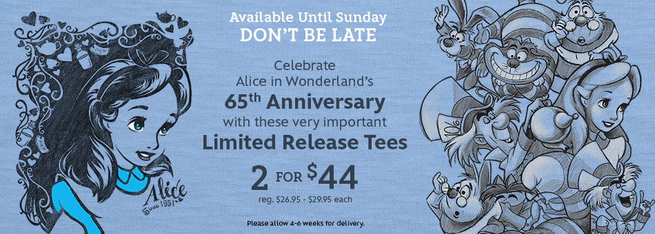 Alice in Wonderland 65th Anniversary Limited Release Tees