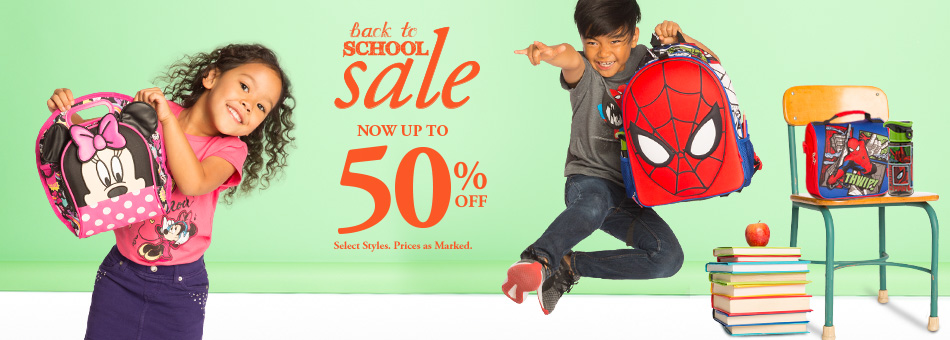 Back to School Sale - Now Up to 50% Off - Select Styles - Prices as Marked