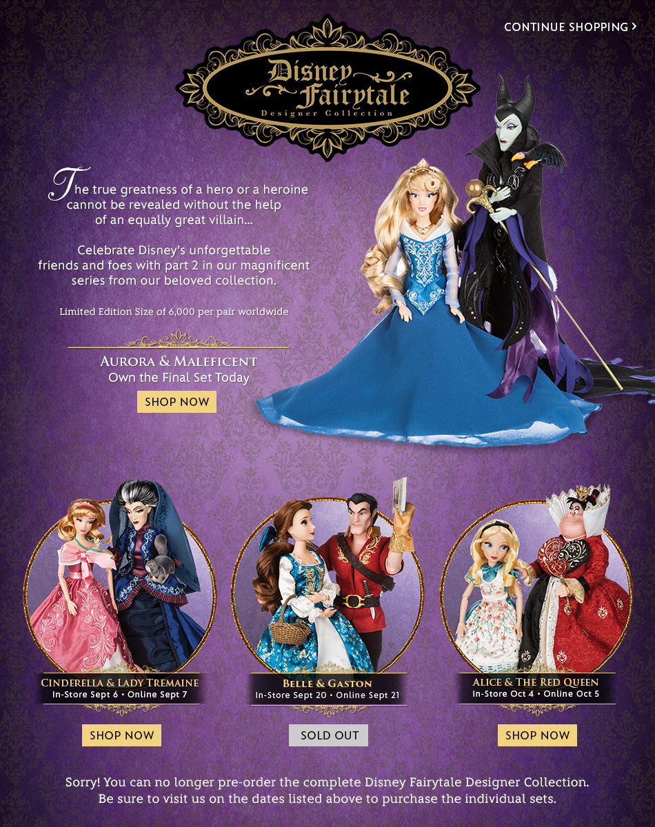 Disney Fairytale Designer Collection - The true greatness of a hero or a heroine cannot be revealed without the help of an equally great villain... - Celebrate Disney's unforgettable friends and foes with part 2 in our magnificent series from our beloved collection. - Limited Edition Size of 6,000 per pair worldwide. -