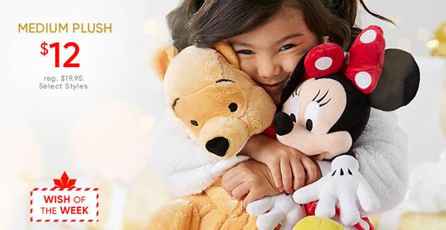 Medium Plush - $12 - Regularly $19.95 - Select Styles - Wish of the Week