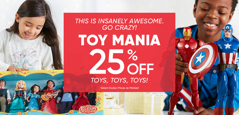 This is insanely awesome. Go Crazy! Toy Mania 25% Off Toys, Toys, Toys! - Select Styles - Prices as Marked