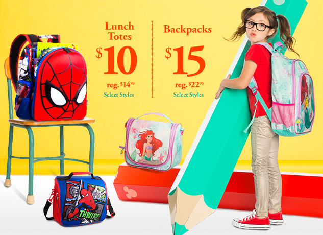 $15 Backpacks and $10 Lunch Totes