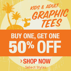 Kids & Adult Graphic Tees- Buy One, Get One 50% Off - Select Styles - Shop Now
