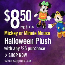 $8.50 Mickey Mouse or Minnie Mouse Halloween Plush with any $25 Purchase