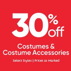 30% Off Costumes & Costume Accessories