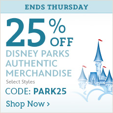 Ends Thursday - 25% Off Disney Parks Authentic Merchandise - Select Styles - CODE: PARK25 - Shop Now