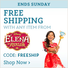 Ends Sunday - Free Shipping with any item from Elena of Avalor - CODE: FREESHIP - Shop Now