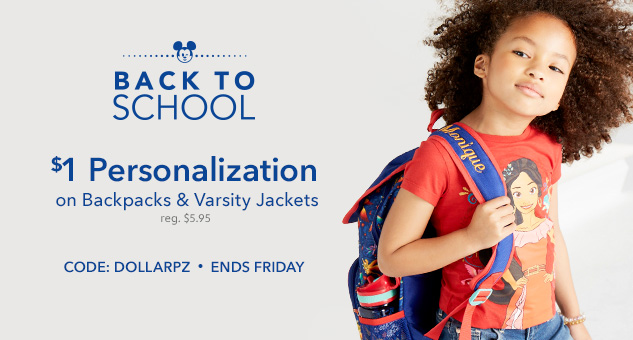 $1 Personalization on Back to School Gear CODE: DOLLARPZ