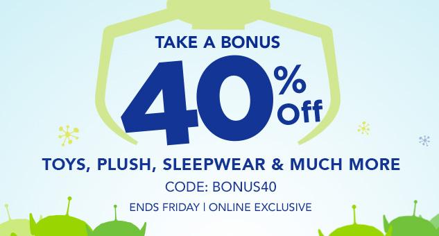 Bonus 40% Off Sale, CODE: BONUS40