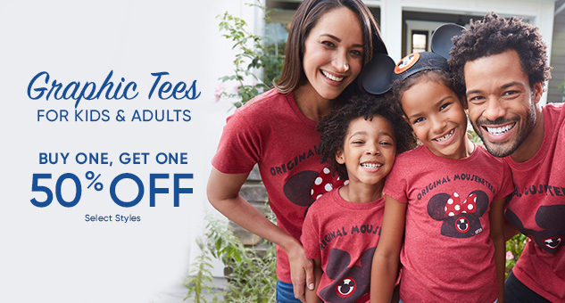Kids & Adults Graphic Tees! Buy One, Get One 50% Off