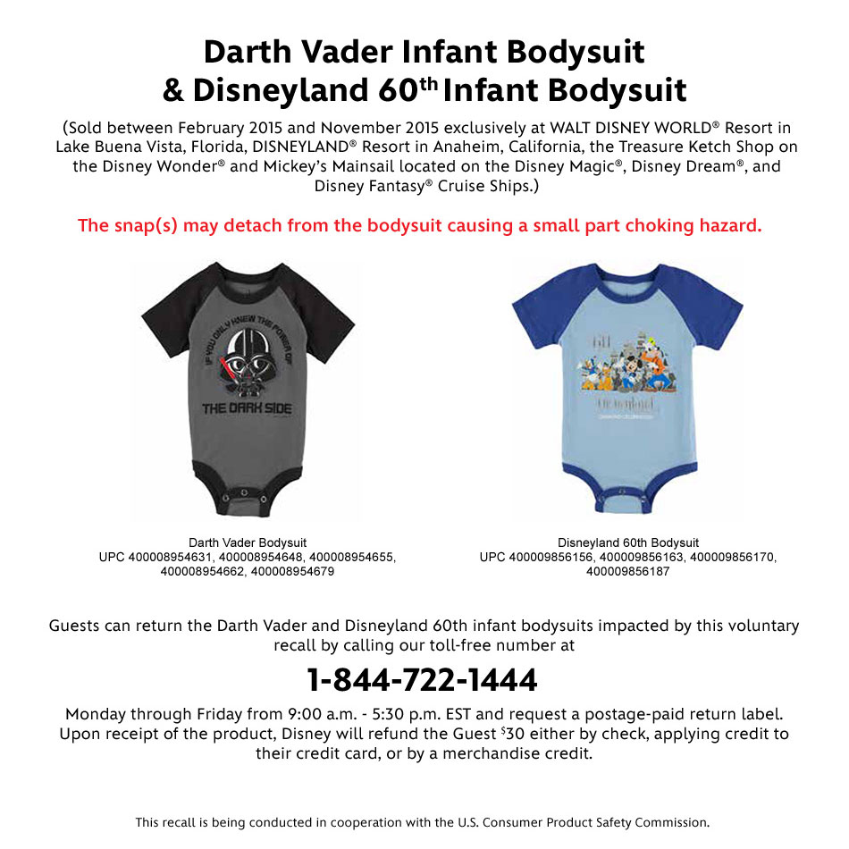 Safety Recall - Darth Vader Infant Bodysuit & Disneyland 60th Infant Bodysuit