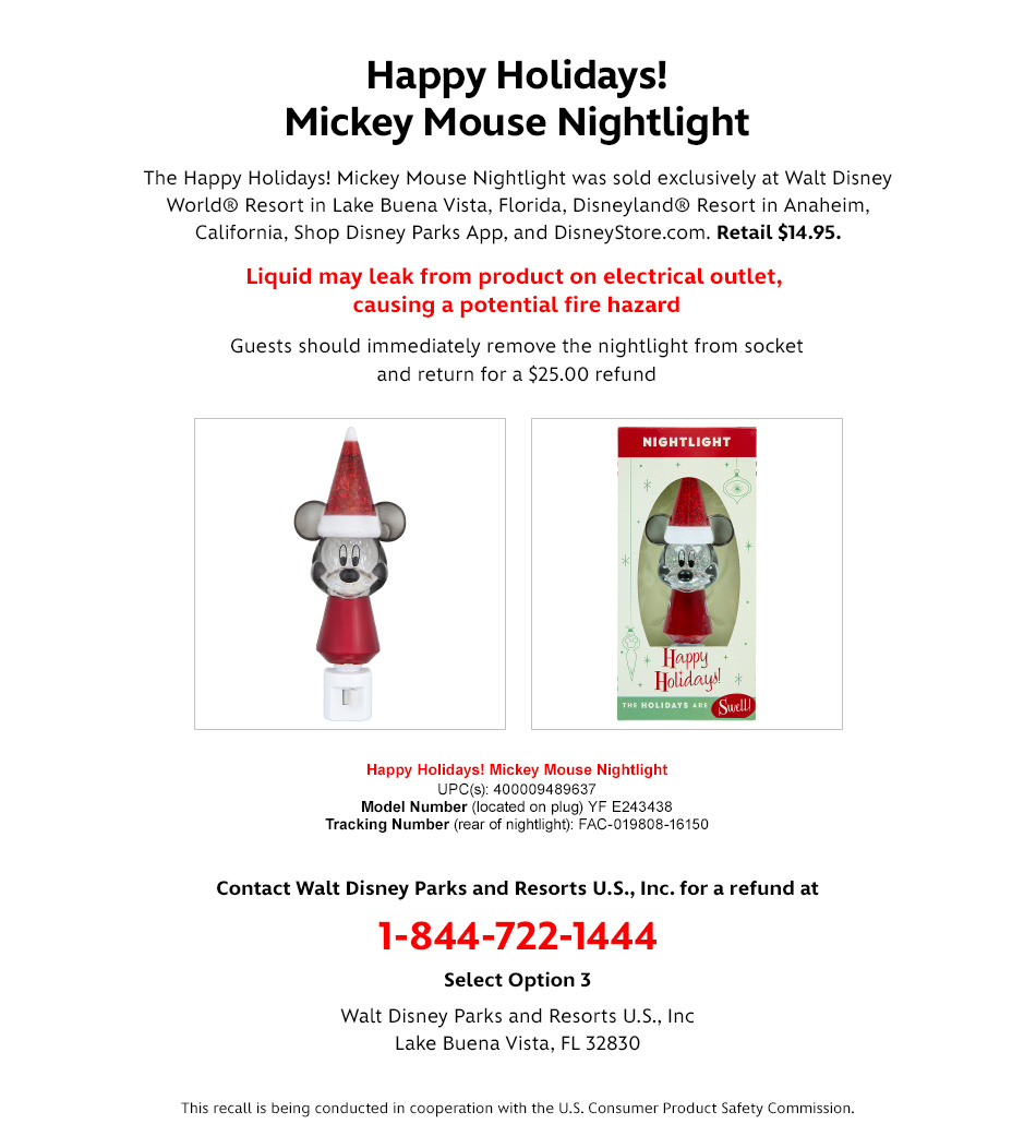 Safety Recall - Happy Holidays! Mickey Mouse Nightlight