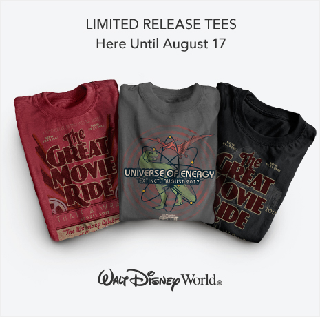 Limited Release Tees - Here Until August 17 - The Great Movie Ride - Universe of Energy - Walt Disney World