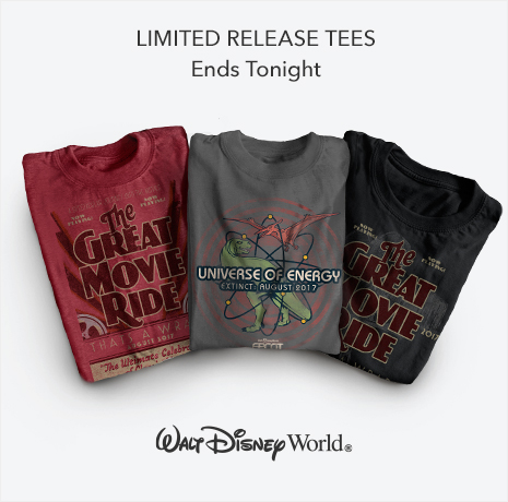 Limited Release Tees - Ends Tonight - The Great Movie Ride - Universe of Energy - Walt Disney World