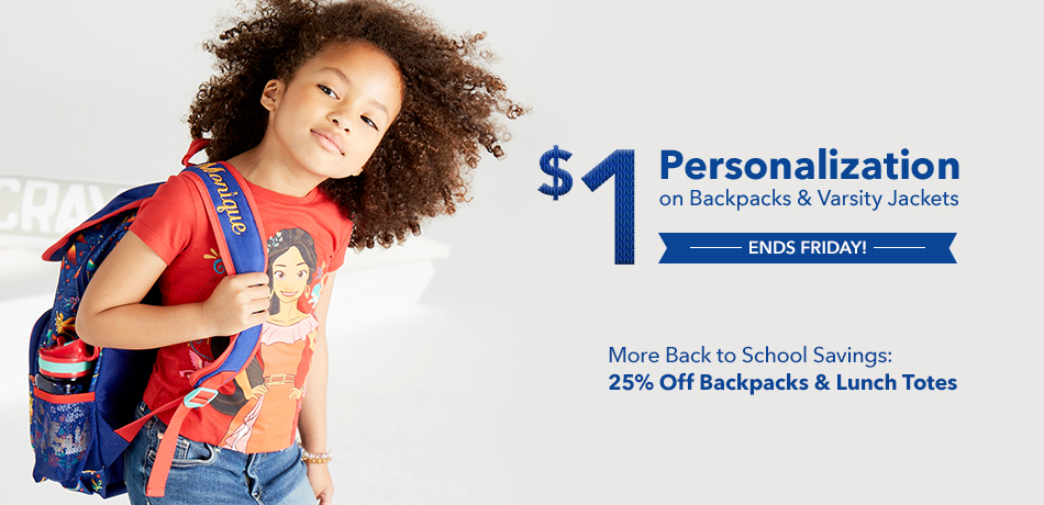 Back to School - $1 Personalization on Backpacks & Varsity Jackets - Ends Friday