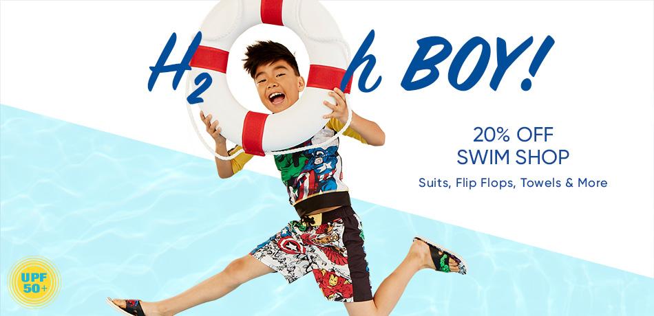 H2Oh Boy! 20% Off Swim Shop - Suits, Flip Flops, Towels & More