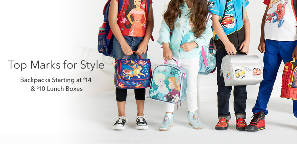 Top Marks for Styles - Backpacks starting at $14 7 $10 Lunch Boxes