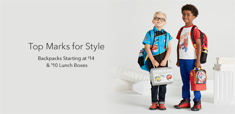 Top Marks for Styles - Backpacks starting at $14 & $10 Lunch Boxes
