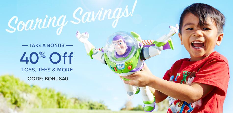 Soaring Savings - Take a Bonus 40% Off Toys, Tees & More - CODE: BONUS40