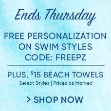 Free Personalization on Swim Styles CODE: FREEPZ