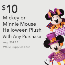 $10 Mickey or Minnie Mouse Halloween Plush with Any Purchase