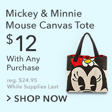 $12 Mickey and Minnie Mouse Canvas Tote with Any Purchase