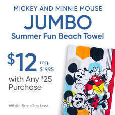 $12 Mickey and Minnie Mouse Summer Fun Beach Towel with any $25 Purchase