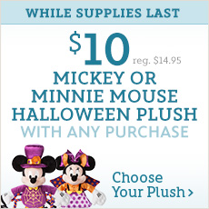 While Supplies Last - $10 Mickey or Minnie Mouse Halloween Plush with Any Purchase - reg. $14.95 - Choose Your Plush