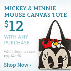 $12 Mickey & Minnie Mouse Canvas Tote with Any Purchase - Shop Now